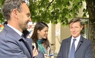 Thomas Cazenave (à gauche), Julia Mouzon et Nicolas Florian, le 12 juin 2020 à Bordeaux.
