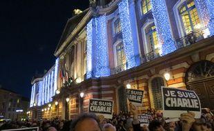 Toulouse, le 7 janvier 2015. Plus de 8500 Toulousains réunis sur la place du Capitole.