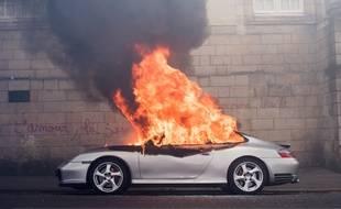 Nantes le 28 04 2016. Une porsche en feu.//SALOM-GOMIS_12001155/Credit:SEBASTIEN SALOM-GOMIS/SIPA/1604281646