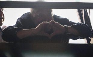 L'ancien président brésilien Luiz Inacio Lula da Silva remercie ses supporteurs le 5 avril 2018, à son QG de Sao Polo.