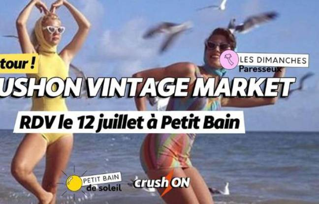 Visuel vintage pour le marché de fripes CrushOn