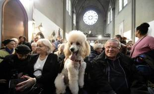 Des paroissiens assistent à une messe avec des animaux le 9 novembre 2014 à l'église Sainte-Rita à Paris