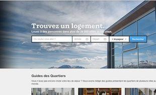 La page d'accueil du site communautaire Airbnb
