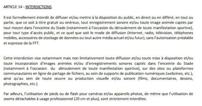 Réglement intérieur de Roland-Garros