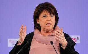 Martine Aubry à Reims, pour un meeting de soutien à François Hollande, le 8 mars 2012.