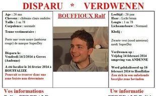 Ralf Bouffioux, 27 ans, était porté disparu depuis 27 ans.