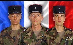 Les trois soldats français morts au Mali dans l'explosion d'une mine le 12 avril.