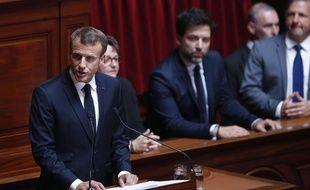 Emmanuel Macron devant le Congrès à Versailles, le lundi 9 juillet 2018.