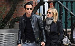 Jennifer Aniston et Justin Theroux le 16 septembre 2011 à Manhattan.