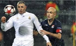 A l'aller, Cris (à d.) n'avait pas été pris en défaut par les attaquants madrilènes.