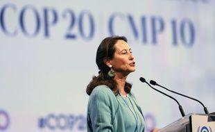 Ségolène Royal, ministre de l'Environnement lors d'une prise de parole à la conférence sur le climat à Lima (Pérou) le 11 décembre dernier.