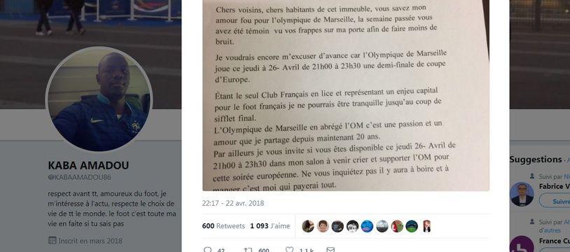 Le mot d'excuse d'Amadou, supporter de l'OM.