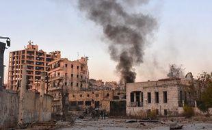 Alep lors de l'assaut des forces syriennes lancé contre la zone tenue par les rebelles, le 28 novembre 2016