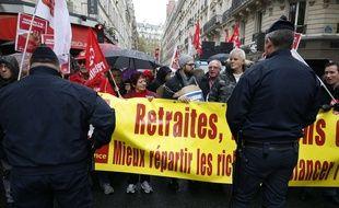 Des militants syndicalistes lors d'une manifestation pour les retraites.