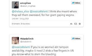 Réponses reçues par la journaliste Jessica Valenti à une question sur les tampons.