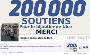 Capture d'écran de lapage facebook en soutien du bijoutier de Nice qui a abattu l'homme qui le braquait.