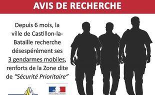 L'affiche diffusée par la mairie de Castillon-la-Bataille.
