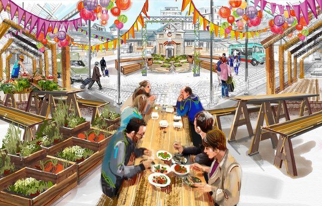 La future place Commeurec imaginée par une illustratrice.