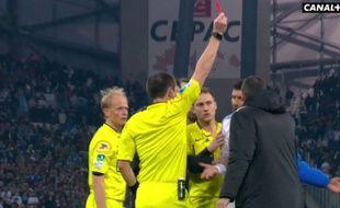 André Ayew a été expulsé après le coup de sifflet final lors d'OM-PSG, le 5 avril 2015.
