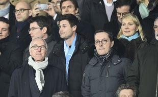 Le président de l'OM Jacques-Henri Eyraud aux côtés du propriétaire du club, Frank McCourt, le 25 février 2018 lors de PSG-OM.