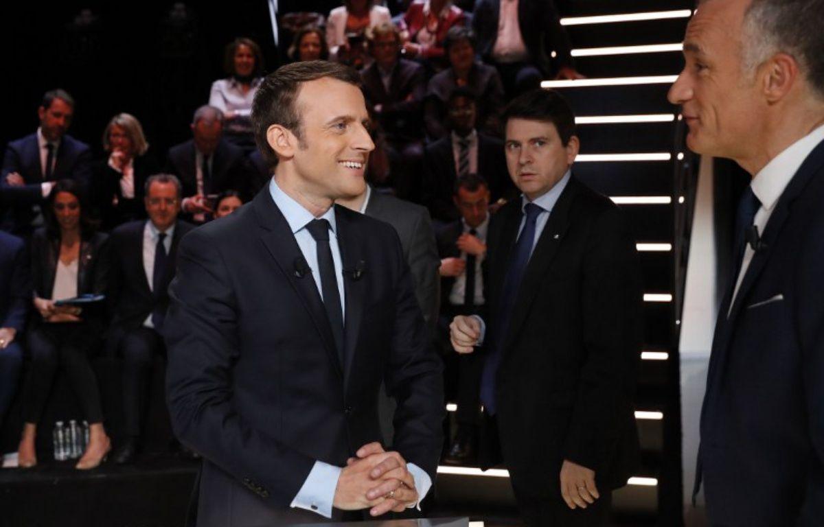 Emmanuel Macron lors du premier débat télévisé sur TF1. – Patrick Kovarik