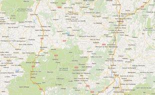 Lozère, google maps.