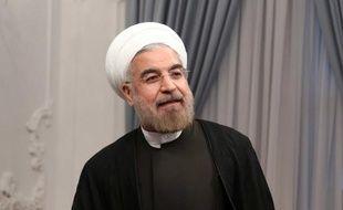 Le nouveau président iranien, Hassan Rohani lorsqu'il a prêté serment devant les députés.