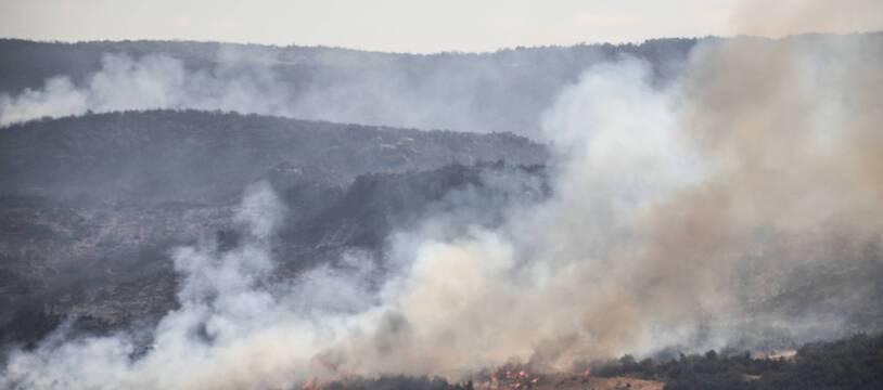A view fires during a forest fire at the countryside of Latakia, Syria on September 10, 2020. Summer fires are common in Syria, but residents have said this year's are worse than usual. Summer fires are common in the region and this year temperatures have reached 40C, around 10C higher than the September average. (Photo by Azalden Idlib / INA Photo Agency)/30749329/Azalden Idlib / INA Photo Agency/2009101944