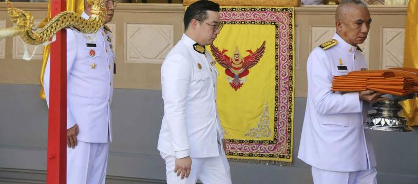 Le roi thaïlandais était présent lors de la cérémonie de crémation de Vichai Srivaddhanaprabha, ancien dirigeant du club de foot anglais Leicester City, le 21 mars 2019.