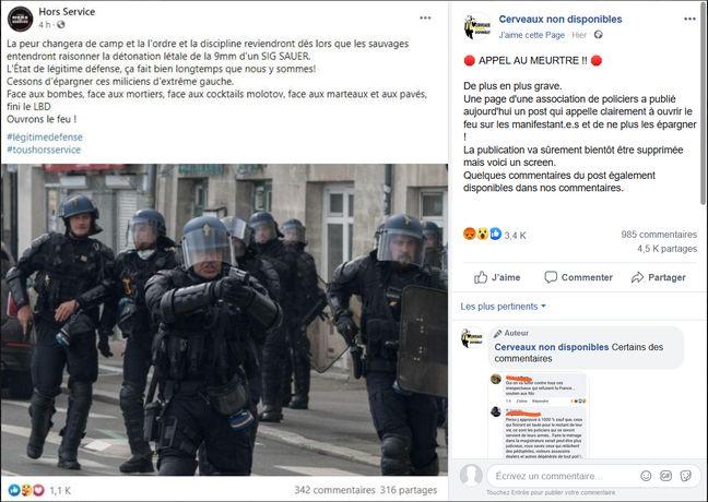 Indignation de certains internautes après une publication de l'association policière Hors Service