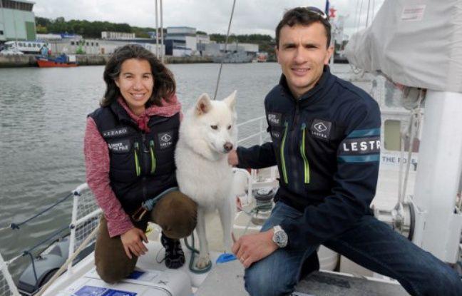 Ghislain Bardout et Emmanuelle Perié-Bardout, le 18 mai 2017 à Concarneau pour le départ d'Under the pole 3.