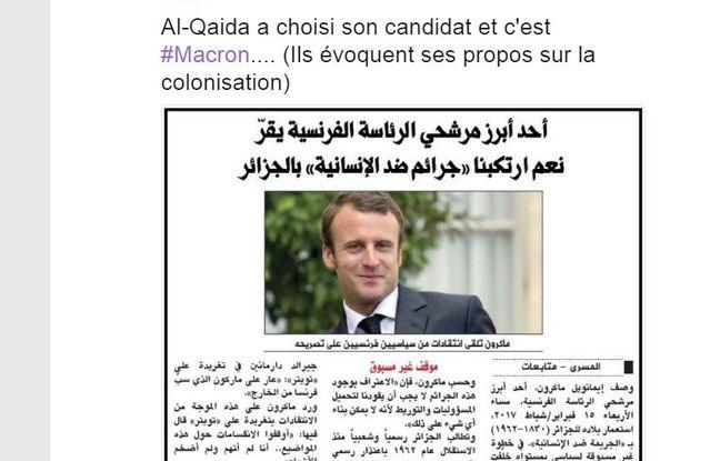 Fake news sur Macron et Al-Qaïda