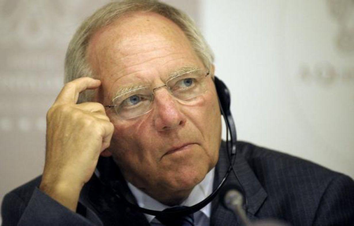 Le ministre allemand des Finances Wolfgang Schäuble s'est déclaré convaincu, vendredi à Stockholm, que la Banque centrale européenne ne s'était pas lancée dans le financement de la dette des Etats en annonçant la veille un nouveau plan de rachat de dette des Etats. – Miguel Riopa afp.com