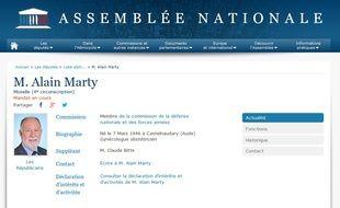 Fiche du député Alain Marty sur le site de l'Assemblée nationale.