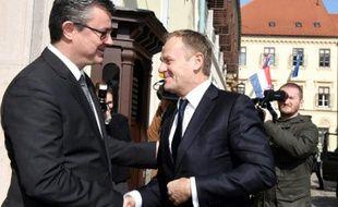 Le Premier ministre croate  Tihomir Oreskovic et le président du Conseil européen Donald Tusk, le 2 mars 2016 à Zagreb