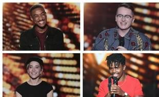 De gauche à droite et de haut en bas : Abi, Antoine Delie, Gustine et Tom Rochet, finalistes de la saison 9 de The Voice.