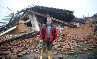 Une maison détruite  par le séisme à Majske Poljane, en Croatie.