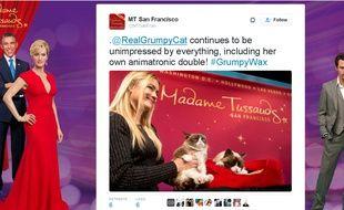 Capture d'écran d'un tweet du musée Madame Tussauds de San Francisco montrant la présentation de son double de cire animé à Grumpy Cat.