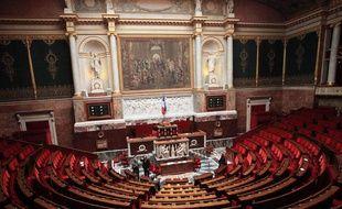 L'hémicycle de l'Assemblée nationale, dans le palais Bourbon à Paris, où siègent les députés pour lesquels travaillent les collaborateurs parlementaires.