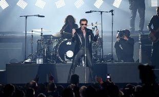 Johnny Hallyday en concert le 26 mars 2016 à Bruxelles.