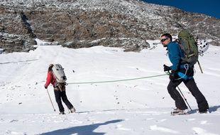 David Labarre lors de l'ascension du mont Albaron pour le Téléthon.