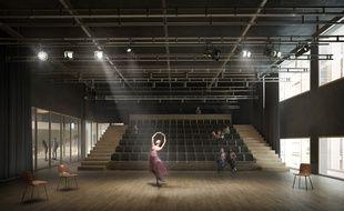 Un studio dans les Ateliers de la danse, qui devaient être aménagés dans l'ancien musée Guimet à Lyon.