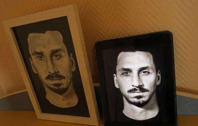 Le portrait dessinné de Zlatan (à gauche) et la photo de Zlatan.