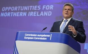 Le vice-président de la Commission Maros Sefcovic a présenté mercredi 13 octobre 2021 une solution afin de réduire les tensions avec l'Irlande du Nord sur les approvisionnements à la suite du Brexit.