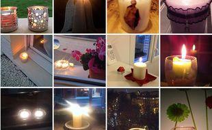 Capture d'écran de l'album photo de la page événement Facebook «Une bougie à chaque fenêtre», créée le 14 novembre 2015.