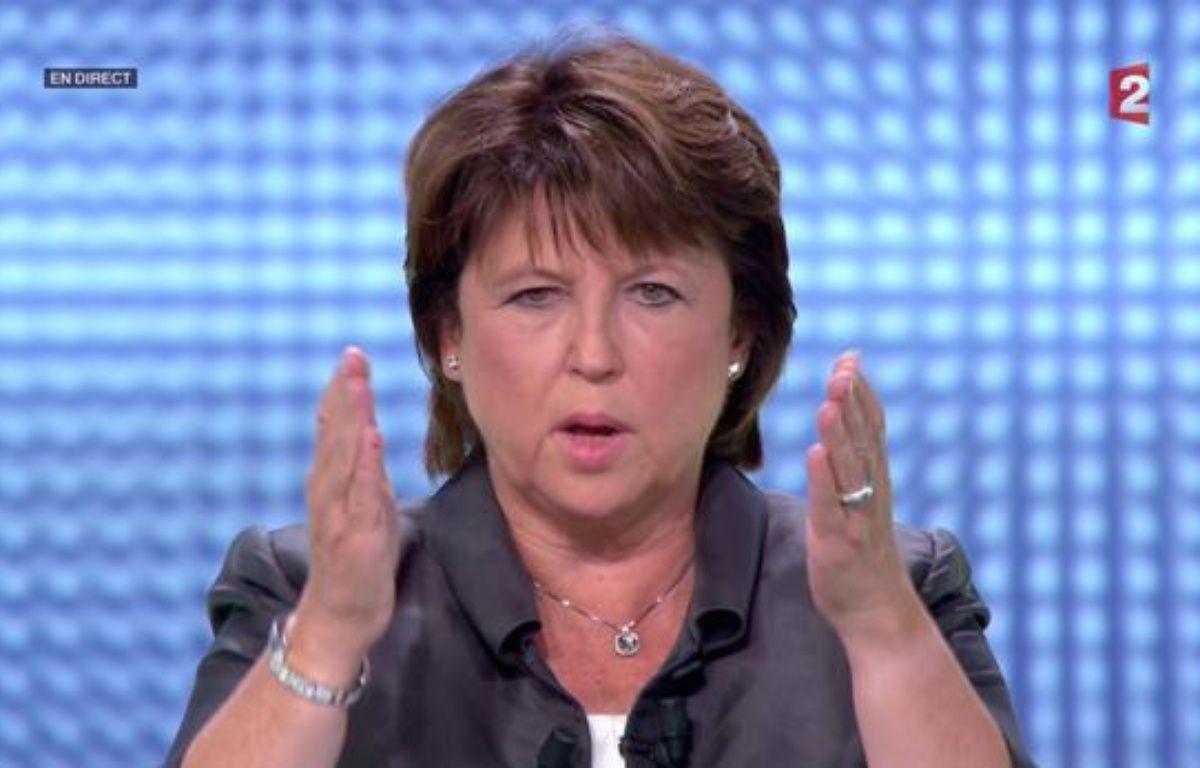 Martine Aubry lors du débat des primaires socialistes, le 12 octobre 2011, sur France 2. – HO NEW / REUTERS