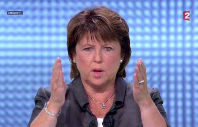 Martine Aubry lors du débat des primaires socialistes, le 12 octobre 2011, sur France 2.