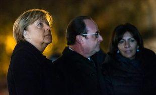 Angela Merkel, François Hollande et Anne Hidalgo Place de la République à Paris le 25 novembre 2015