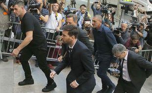 Lionel Messi lors de son arrivée au tribunal de Barcelone