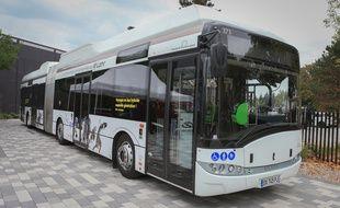 Le bus équipé d'un essieu électrique de la CTS